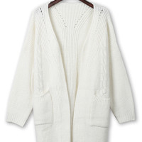 White Pocket Front Slit Back Knit Cardigan