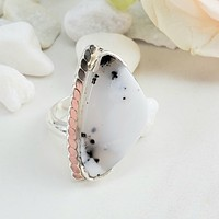Dendritic Opal Ring in Sterling Silver