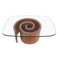 Pre-owned Vladimir Kagan Walnut Snail Coffee Table