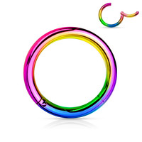 Rainbow Titanium Anodized  Surgical Steel Hinged Segment Rings Cartilage Tragus Daith Helix Body Jewelry 16ga