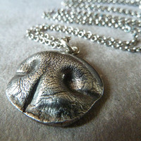 Dog Nose Necklace. Personalized Fine Silver Pendant for a Medium Sized Dog with Sterling Silver Wheat Chain