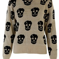 Skulls Jumper in Beige - Womens Clothing Sale, Womens Fashion, Cheap Clothes Online | Miss Rebel