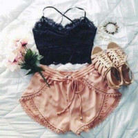 Sexy lace stitching two-piece outfit