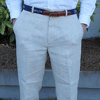 Rugby Plain-front Pant in Natural Tan Linen by Country Club Prep