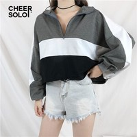 CheerSolo Striped Crop Top Hoodie Sweatshirts Women Drawstring Waist Loose Half Zip Up Hoodie Pullover Casual Hoodies Sweatshirt