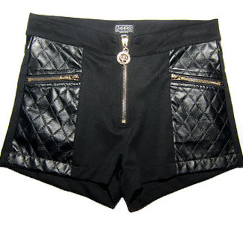 24HRS Classy Like Versayce Black Quilted Shorts