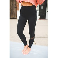 Mono B Ribbed Mesh Leggings (Black) FINAL SALE