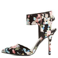 Qupid Floral Cuffed Single Sole Pumps