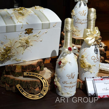 Money box Collection Idyll Chest for guest cards invitations and greetings Tirelire Card Holder Wedding Gift Box milky-gold!