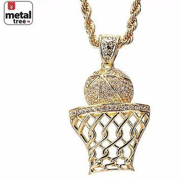 """Jewelry Kay style Men's Iced Out Basketball Rim Hoop Sign Pendant 30"""" Rope Chain Set HC 5046 G"""