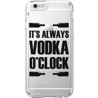 Hard Plastic Transparent Case for iPhone 6 / 6S - It's Always Vodka O'Clock (Black) - Champagne Por Favor - Funny Hipster Quote