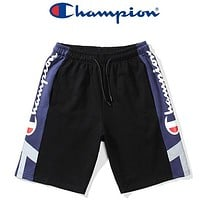 Champion New Summer Letter Print Women Men Shorts Black