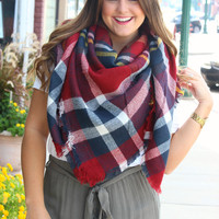 Mad For Plaid Blanket Scarf - Red
