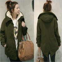 Casual Women Hoodie Fur Thicken Fleece Warm Winter Coat Overcoat Long Jacket Parka = 1932575876