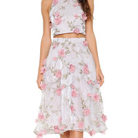 Floral Appliqué Organza Two-Piece Dress