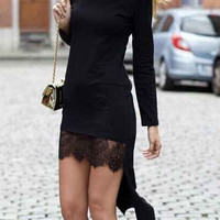 Black Long Sleeve Sheer Lace Panel High Low Bodycon Dress
