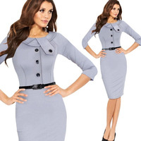Half Sleeve Wear to Work Button Pencil Party Knee-Lenth Dresses S-XXL = 1876337348