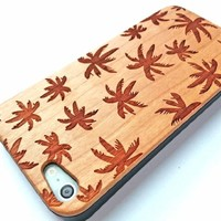 Olina Handmade Natural Genuine Wood Bamboo Backing Shell Case Cover for iPhone 5 iPhone 5s, with Durable Plastic Edges with Smooth Matte Finish (Cherry Wood - Coco)