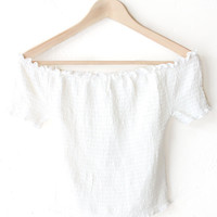 Smocked Off Shoulder Crop Top - White