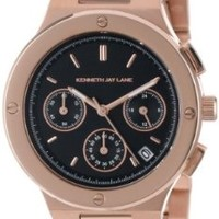 Kenneth Jay Lane Women's KJLANE-2111  Chronograph Black Dial Rose Gold Ion-Plated Stainless Steel Watch