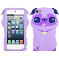 Purple Dog Silicone Soft Cover Case for Apple iPod Touch 5 5th Gen + SunshineCase stylus