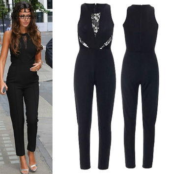 Rompers Womens Jumpsuits Sexy Black Bodycon Jumpsuit Sleeveless Slim Overalls Playsuit Lace Splicing Bodysuit