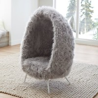 Gray Himalayan Faux-Fur Cave Chair