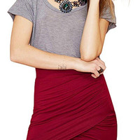 Red Wrap Knitted Mini Skirt
