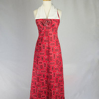 Vintage 70s Maxi Dress Red Bandanna Print Halter with Wide White Collar