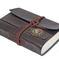 Dark Brown Faux Leather Journal with Steampunk Bookmark