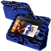 Baby Blue Zebra Folio Stand Case Cover for Amazon Kindle Fire HD 7