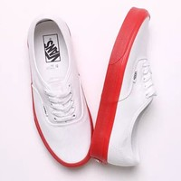 VANS Old School Women Men Flat Canvas Leisure Shoes B-CSXY White+red soles