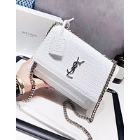 YSL New fashion high quality leather chain shoulder bag women White