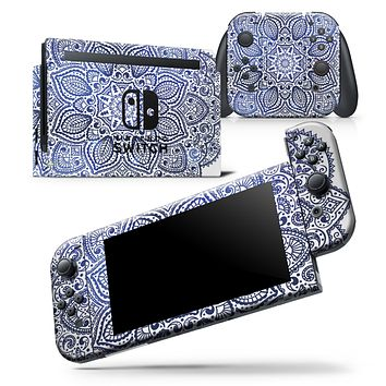 Dark Blue Indian Ornament - Skin Wrap Decal for Nintendo Switch Lite Console & Dock - 3DS XL - 2DS - Pro - DSi - Wii - Joy-Con Gaming Controller