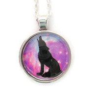 howling wolf galaxy pendant,wolf gifts,wild animal necklace,wolf jewelry,art gifts for her birthday,wolf necklace,space necklace,wolf charms