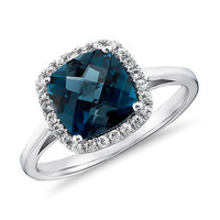 London Blue Topaz and Diamonds Halo Cushion Ring in 14K White Gold Engagement