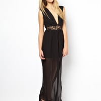 Black Lace A-Line Chiffon Maxi Dress
