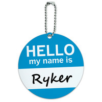 Ryker Hello My Name Is Round ID Card Luggage Tag