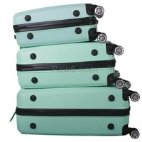 Teal 3x 360 Rotating Luggage 8 Wheels Spinner Rolling Hard Travel Set Trolley + Lock