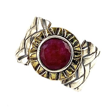 Ruby Two Tone Sterling Silver Woven Band Ring