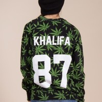 Khalifa Sweatshirt in Weed Print by Eleven Paris - ShopKitson.com