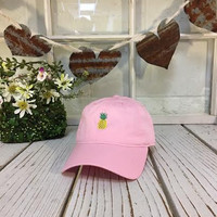 New Pineapple Embroidered Light Pink Polo Baseball Cap Low Profile Curved Bill