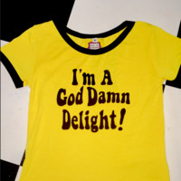 SWEET LORD O'MIGHTY! GODDAMN DELIGHT RINGER TEE IN YELLOW