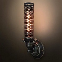 Black Wrought Iron Metal Mesh Big Wall Sconce Bar Porch Steampunk Lamp Mid Century Light