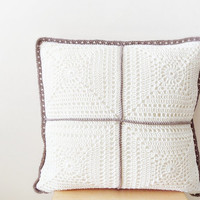 Ivory pillow cover, crochet pillowcase, throw pillow, two sided geometric cushion, decorative pillow, cotton pillowcase, wedding gift
