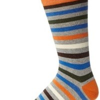 PACT Men's All Over Duffle Bag Stripe Crew Sock, Multi, One Size