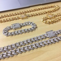 12mm Miami Cuban link chain and bracelet