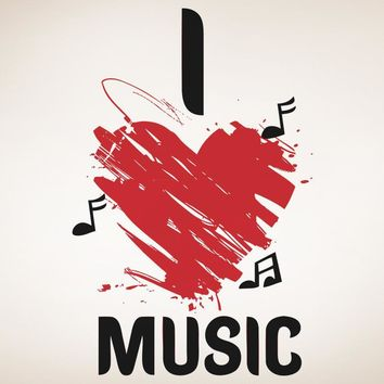 I Heart Music Wall Decal #OS_AA1264