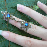 double armor ring chained ring Swarovski BLUE knuckle ring claw ring nail tip ring