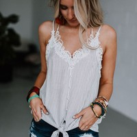 Alexa Pinstriped Lace Top - Off White
